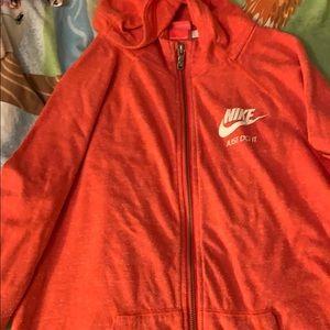 nike orangey red hoodie